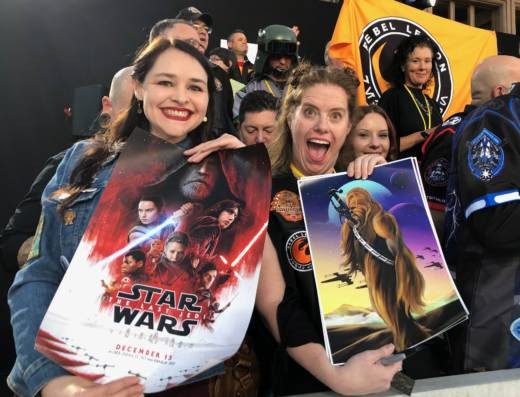 Jennifer Hyman and Sarah Adams were thrilled to be given a chance to attend the Star Wars: The Last Jedi world premiere in Los Angeles. They've spent hours making screen accurate costumes and volunteering with the Rebel Legion Endor Base costume club.