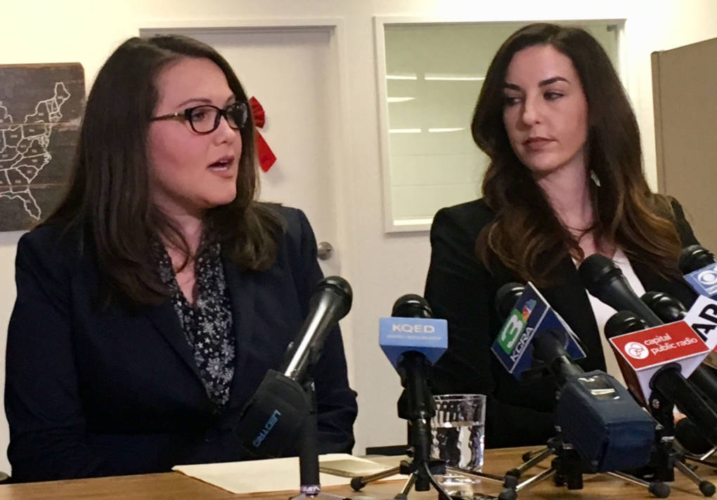 Lobbyist Pamela Lopez (L) and Jessica Yas Barker held a press conference on Dec. 4, 2017, to accuse Assemblyman Matt Dababneh of sexual misconduct.