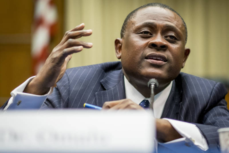 Forensic pathologist and neuropathologist Dr. Bennet Omalu participates in a briefing sponsored by Rep. Jackie Speier (D-CA) on Capitol Hill on January 12, 2016 in Washington, DC.