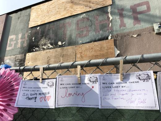Notes displayed at a memorial to those who died at the Ghost Ship fire held on Dec. 2, 2017, a year after a fire ripped through the unpermitted living an event space at the Fruitvale district warehouse in Oakland, killing 36 people.