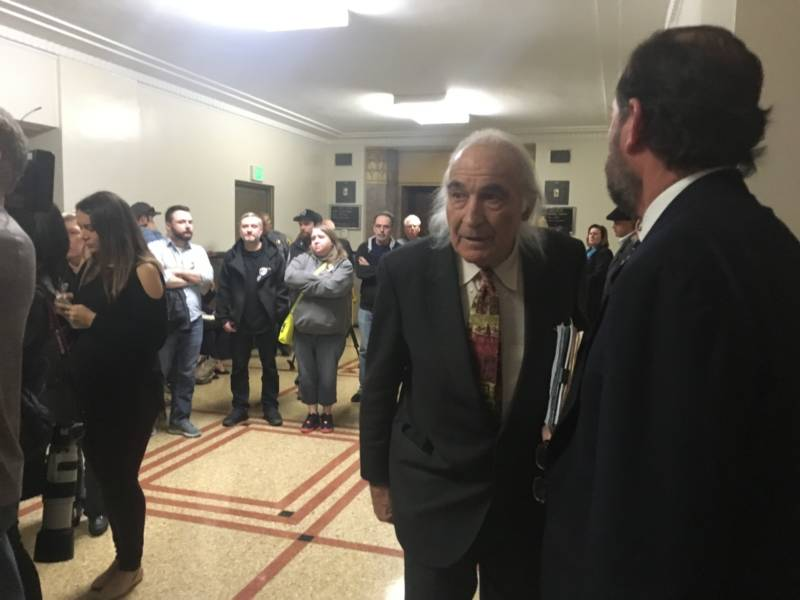 Tony Serra outside a courtroom in Oakland. Serra is defending Derick Almena, who is charged with 36 counts of involuntary manslaughter.