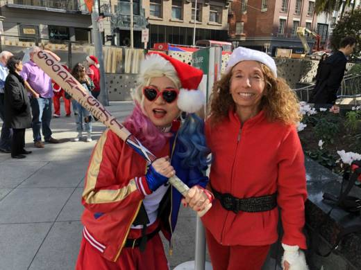Alice Halbert dressed up as Harley Quinn and Wendy Hershey at SantaCon 2017 at San Francisco's Union Square. Halbert has been going for years, but 2017 was Hershey's first time.
