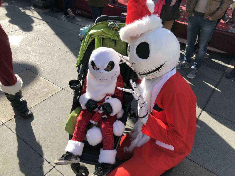 "Three-year-old Ocean Connelly meets a fellow fan of the film, ""Nightmare Before Christmas"" at SantaCon 2017 in San Francisco. Connelly's mom says he loves his Jack Skellington outfit and even wore it on Thanksgiving Day in 90 degree heat at Disneyland."