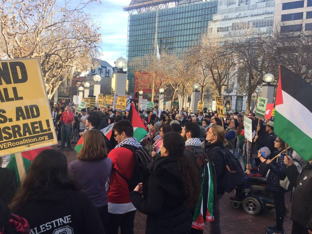 More than 100 people rallied at San Francisco's United Nations Plaza on Saturday, Dec. 9, to protest President Donald Trump's decision to recognize Jerusalem as Israel's capital.