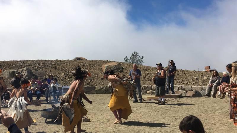 Amah Mutsun Tribal Band members at the Mount Umunhum Ceremonial Circle on September 14, 2017.