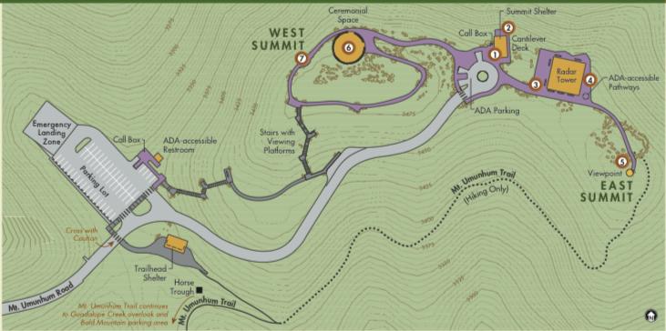 Map of Mount Umunhum's Summit.