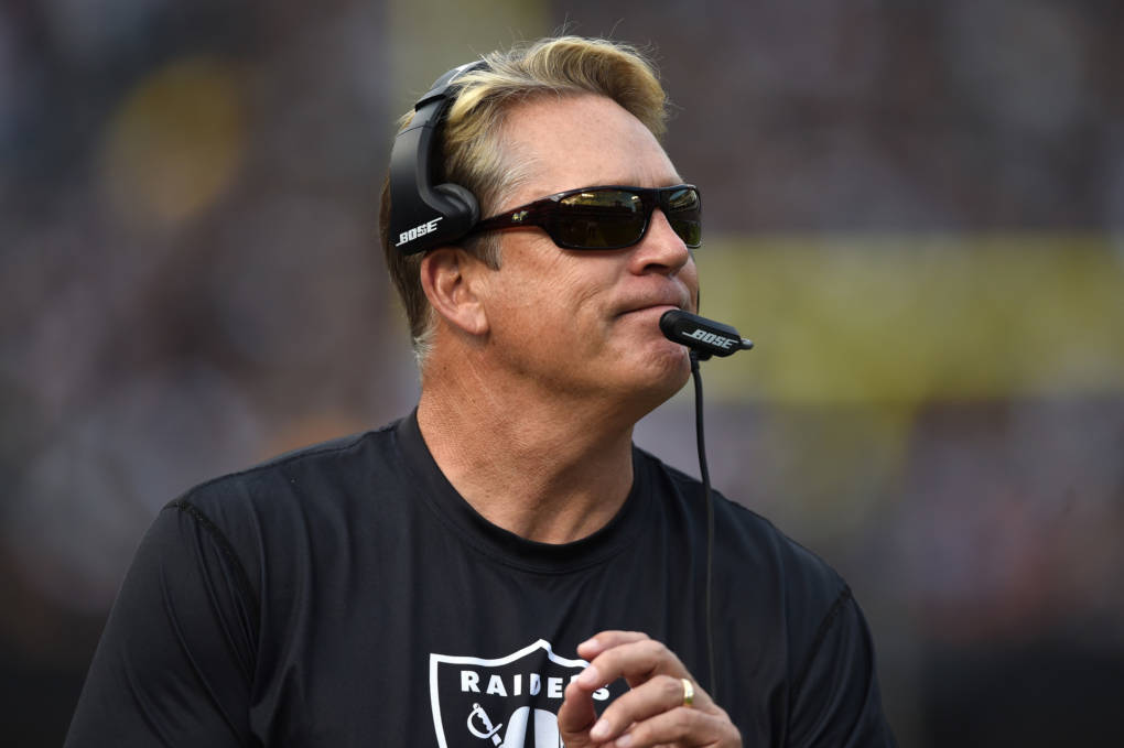 Jack Del Rio of the Oakland Raiders looks on during their NFL game against the New York Jets at O.co Coliseum on November 1, 2015. Del Rio was fired on Sunday after leading the Raiders to a disappointing 6-10 season.