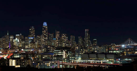 """An artist's rendering of the """"Day for Night"""" installation atop Salesforce Tower in San Francisco."""