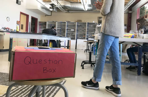 Students in Michelle Boire's classroom at Mid-Peninsula High School can ask questions about anything, anonymously, and slip them in this box.
