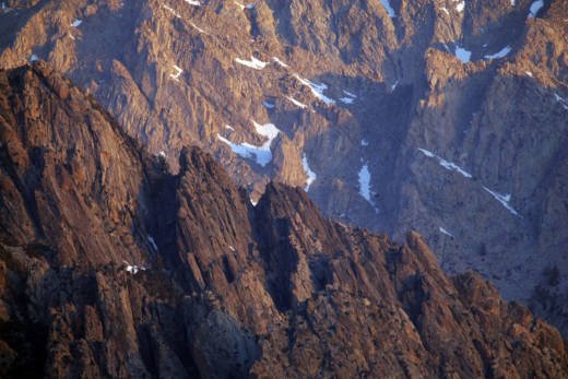 Alpine crags rise north of Mount Whitney in the Sierra Nevada.