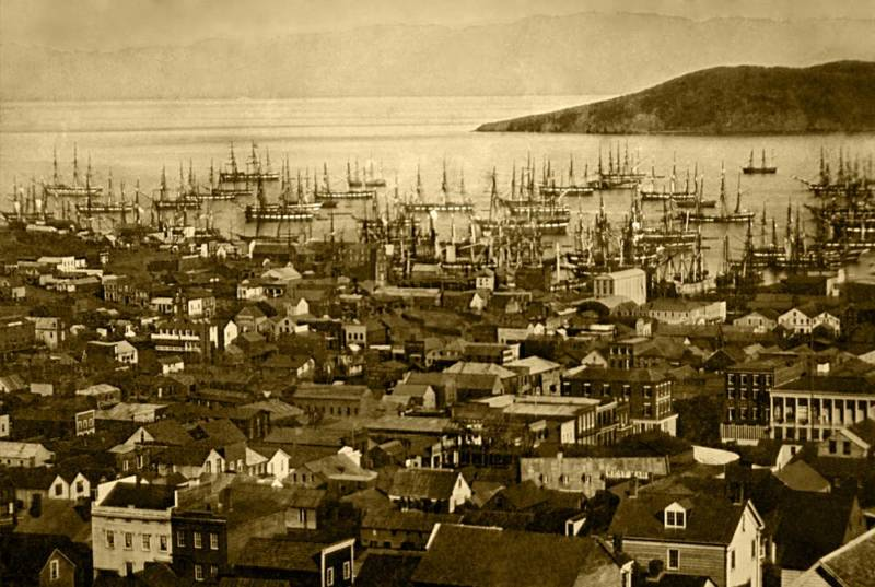 Wooden ships in Yerba Buena Cove during the Gold Rush