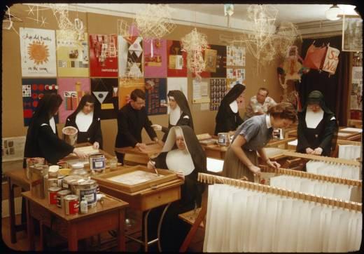Nuns teaching an art class