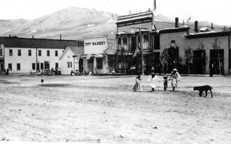 Downtown Bodie including the Occidental Hotel, circa 1905.