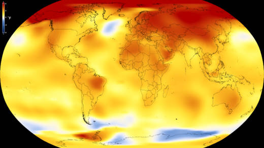 This map shows Earth's average global temperature from 2013 to 2017, as compared to a baseline average from 1951 to 1980, according to an analysis by NASA's Goddard Institute for Space Studies. Yellows, oranges, and reds show regions warmer than the baseline.