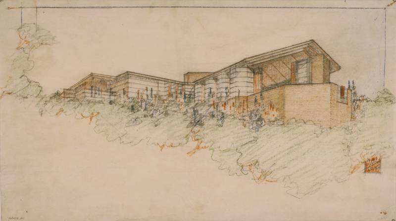 The Bazett House in Hillsborough, drawing by Wright, 1939. This was one of the few Wright commissions that got built in the San Francisco Bay Area.