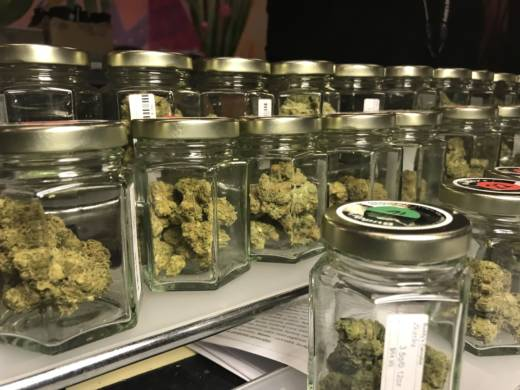 Jars of cannabis sold at Buddy's Cannabis in San Jose.