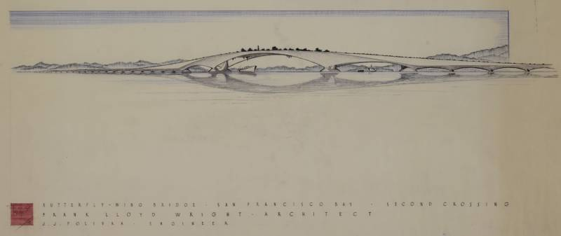 "Frank Lloyd Wright's proposed ""Butterfly Bridge."" It would have stretched between San Francisco and Oakland, somewhere south of the Bay Bridge."