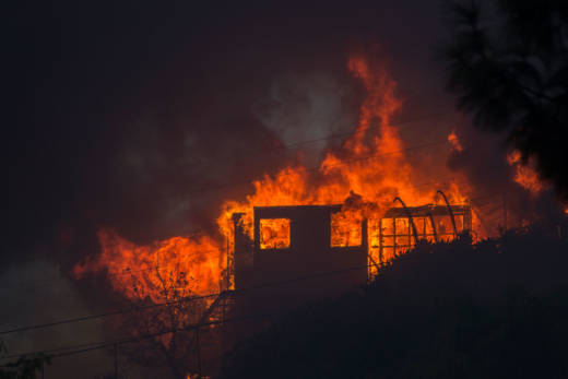 A house burns during the Creek Fire on December 5, 2017 in Sunland.