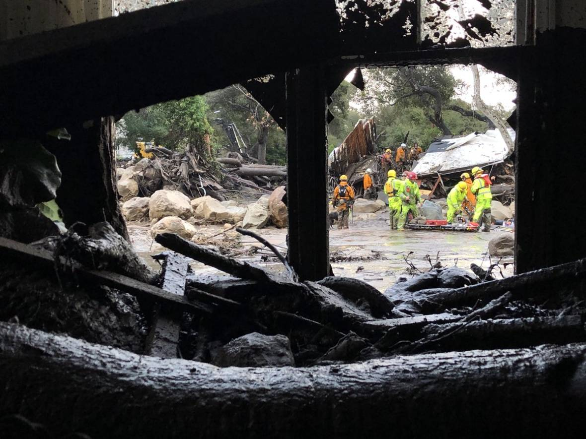 Scene from the 300 block of Hot Springs Road in Montecito on Jan. 9, 2018, following debris and mud flow due to heavy rain. Santa Barbara County Fire Department on Twitter