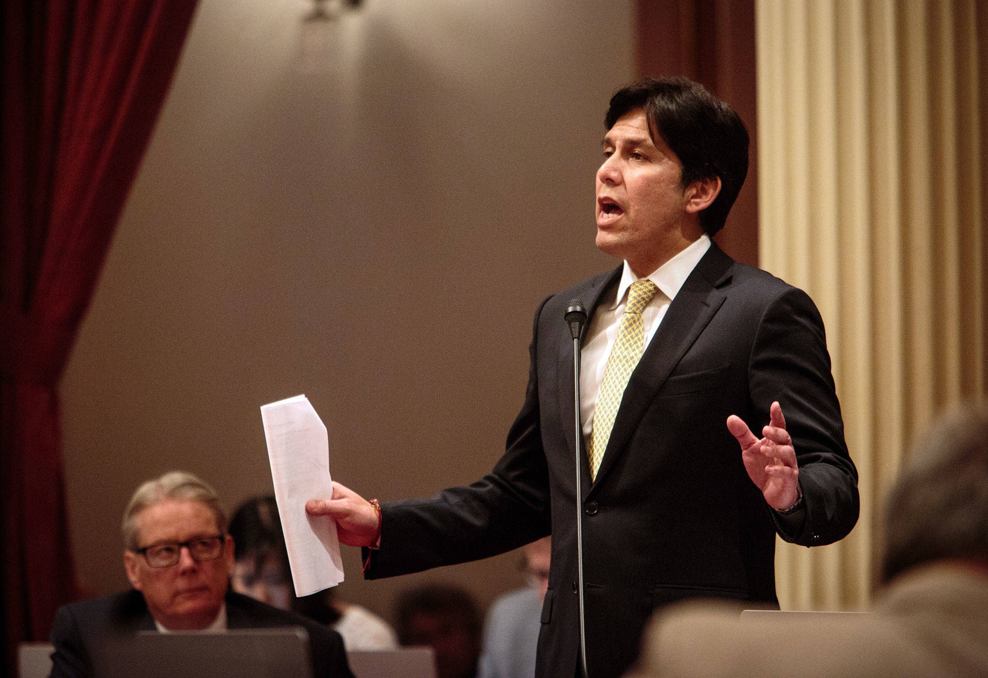 In his waning days as Senate President Pro Tem, Kevin de León is promoting what he calls the 'Protect California Taxpayers Act.' Max Whittaker/KQED