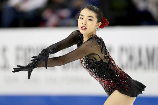 Karen Chen competes in the Ladies Free Skate during the 2018 Prudential U.S. Figure Skating Championships at the SAP Center on January 5, 2018 in San Jose, California.