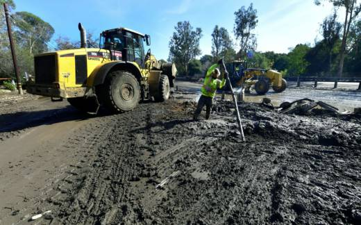 Cleanup operations continue after heavy rains on January 9 sent rivers of waist-high mud and debris flowing from the hills into Montecito and other towns in Santa Barbara County.