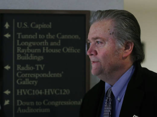 Steve Bannon, former advisor to President Trump, arrives at a House Intelligence Committee closed door meeting, on January 16, 2018 in Washington, DC. The committee is investigating alleged Russian interference in the 2016 U.S. presidential election.