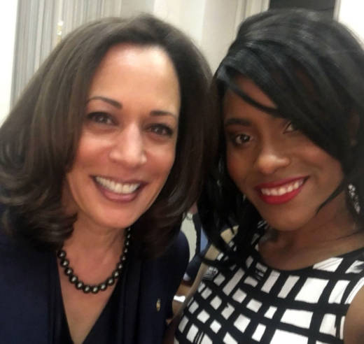 California Sen. Kamala Harris and her guest to the State of the Union, Denea Joseph.