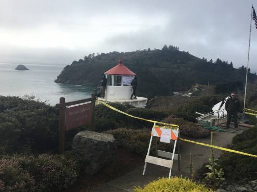 Protestors climbed the Trinidad Memorial Lighthouse in Humboldt County to stop the relocation of the structure to a nearby tribal village. Sheriff's deputies were on site to keep the protests peaceful.