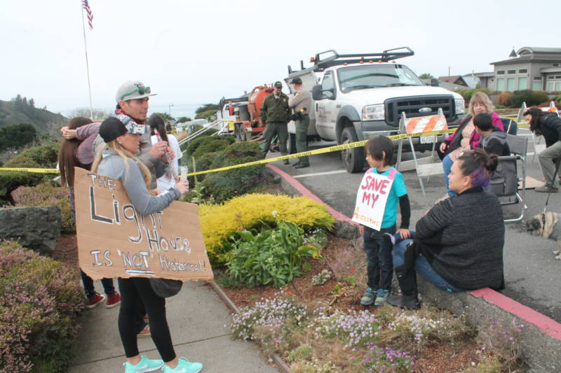 Families and descendants of the Tsurai Ancestral Village, part of the Yurok Tribe, staged protests and sit ins at the Trinidad Memorial Lighthouse for more than a week. They say they'll stay at the site until the Trinidad City Council and the Civic Club ensures that their village is safe.