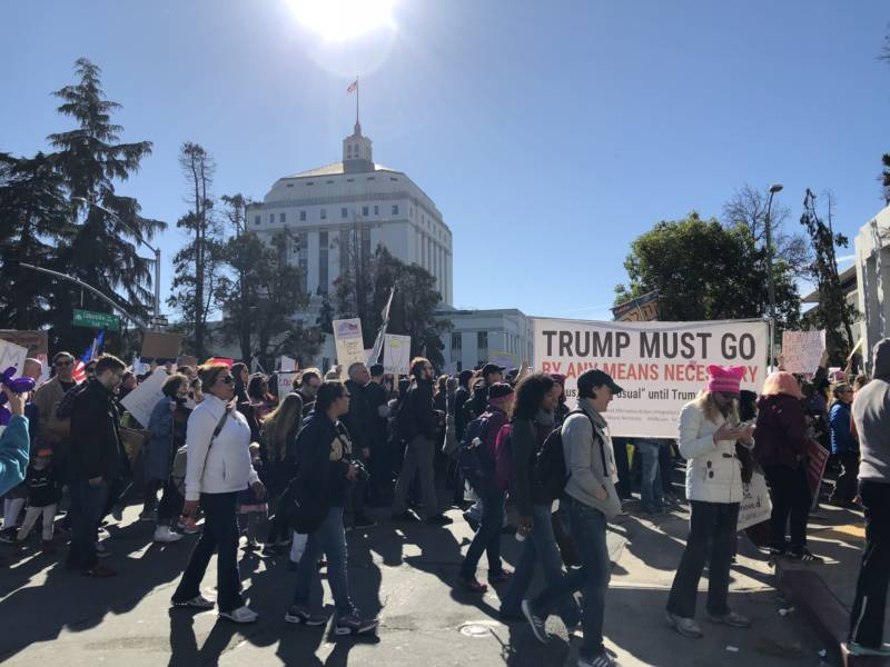 Crowds marching through downtown Oakland during the Women's March.
