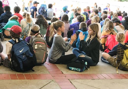 Montecito Union Elementary students gather for an assembly on the first day of school on the Santa Barbara City College Campus. The college found space for the elementary school, which couldn't hold classes at its campus due to mandatory evacuations.