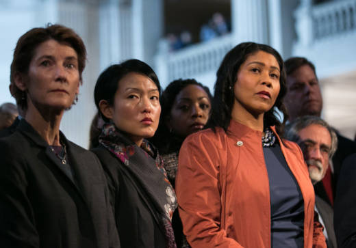 San Francisco supervisors Jane Kim (C) and London Breed (R) -- shown here at a press conference the morning after Mayor Ed Lee passed away -- have both filed their paperwork to appear as mayoral candidates on the June ballot.