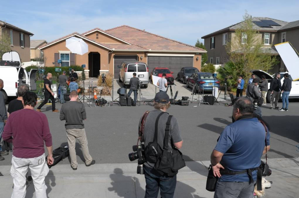 The home of David and Louise Turpin, surrounded by members of the press, where they allegedly kept their 13 children captive on an otherwise ordinary-looking suburban street in Perris, a bedroom community of 76,000 in Riverside County, 70 miles east of Los Angeles.