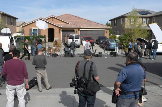 The home of David and Louise Turpin, surrounded by members of the press, where they kept their 13 children captive on an otherwise ordinary-looking suburban street in Perris, a bedroom community of 76,000 in Riverside County, 70 miles east of Los Angeles.
