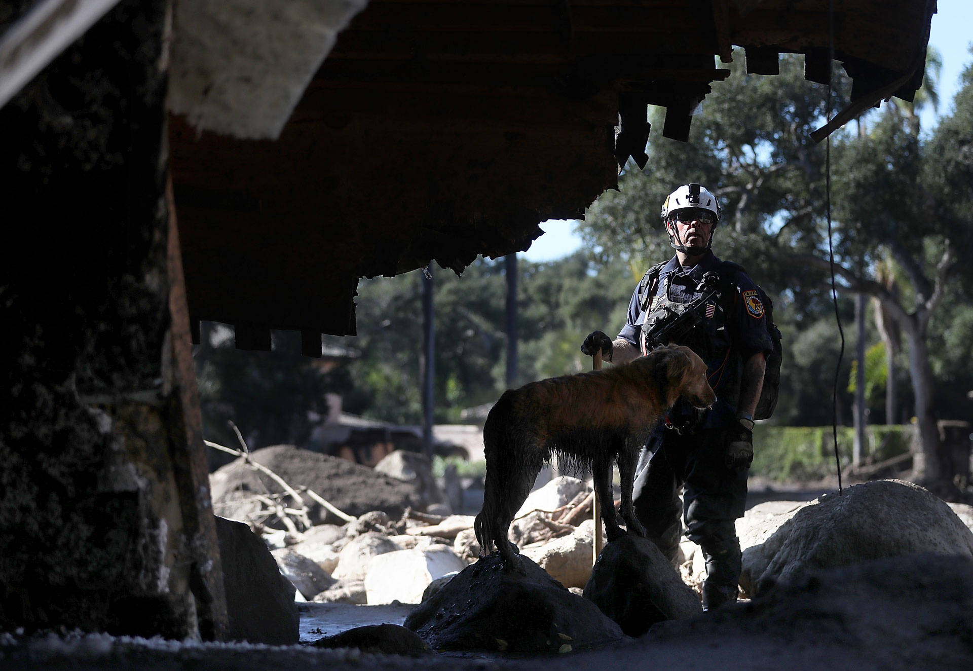 An urban search-and-rescue team member and his dog search a home that was destroyed by a mudslide on Jan. 11, 2018, in Montecito. Justin Sullivan/Getty Images
