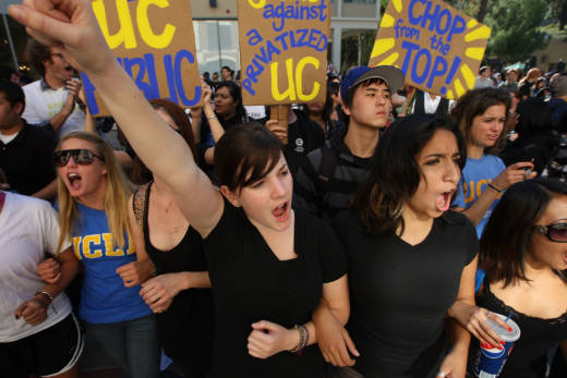 UCLA students protest as UC Regents vote on a tuition increase in 2009.