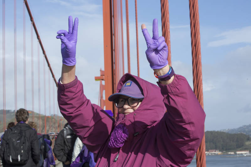 Protestors gathered across the Golden Gate Bridge at about 10 am on Jan. 20, 2017. The participants linked hands while cheering and wearing purple. Their demonstration acted as a message against President Donald Trump on the day of his inauguration.