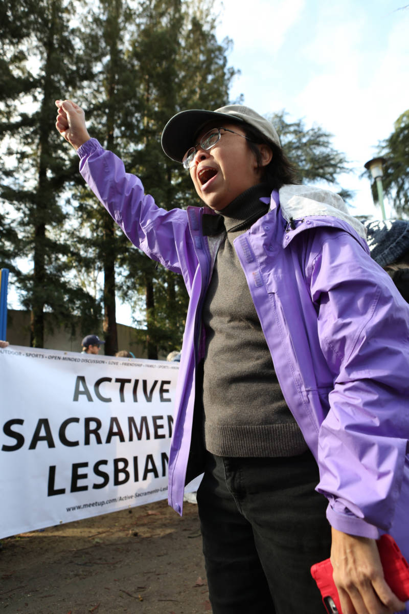"Linda Hsu of Sacramento attended the Women's March to the State Capitol Building on Saturday, Jan. 21, 2017 with fellow members of the Active Sacramento Lesbians. ""Lesbians are the best feminists,"" she said, and shouted, ""We love you all!"" to other marchers."