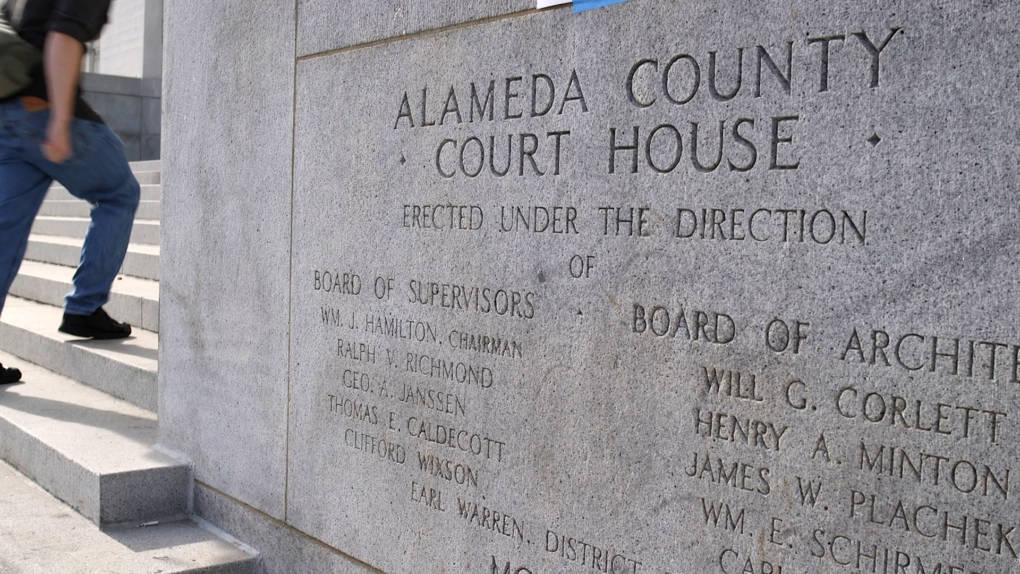 An engraving outside of the René C. Davidson Courthouse in Oakland.