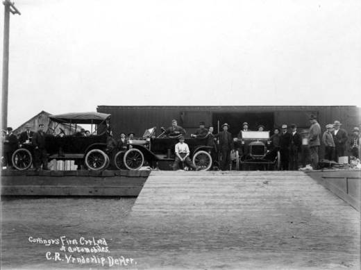 Model Ts arrive in Coalinga in 1914, marking the city's first carload of automobiles. C. R. Vanderlip was the dealer.