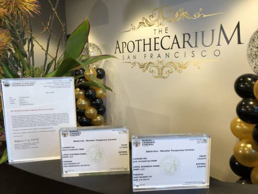 The Apothecarium displays its licenses, which allow it to sell adult-use recreational marijuana in the city.