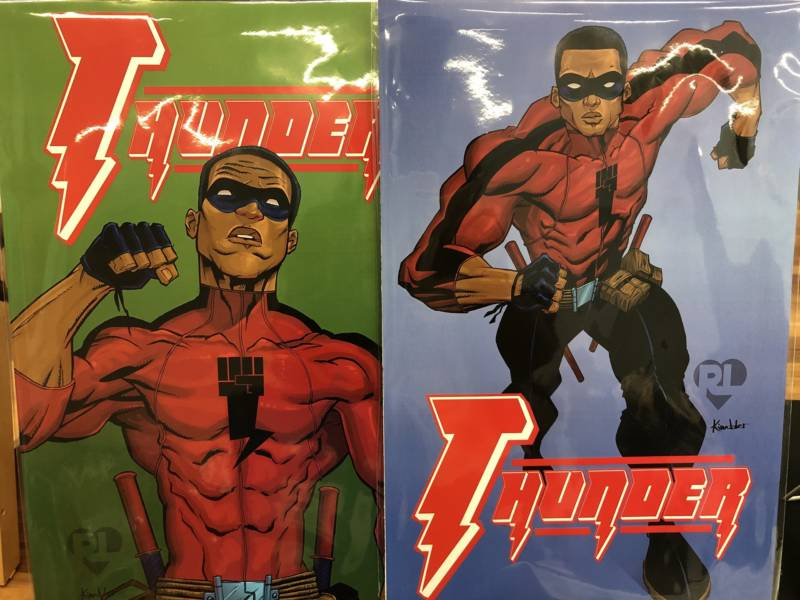 Thunder is a superhero character Love created with his brother.