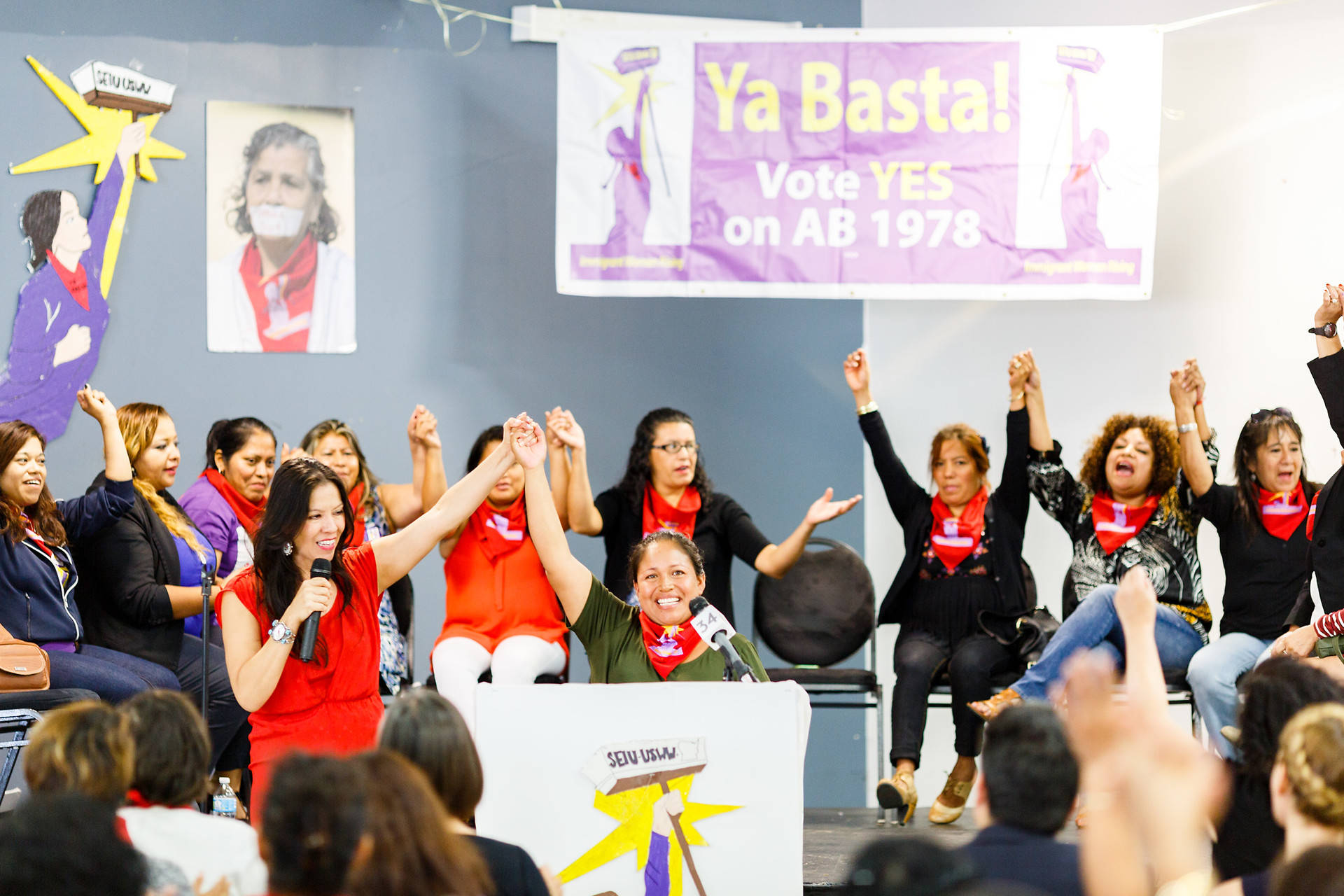 "Georgina Hernandez, a janitor who was sexually assaulted on the job, leads members of the ""Ya Basta"" (enough is enough) coalition in a chant, urging the passage of AB 1978 to increase protections for janitors. Alejandra Valles"