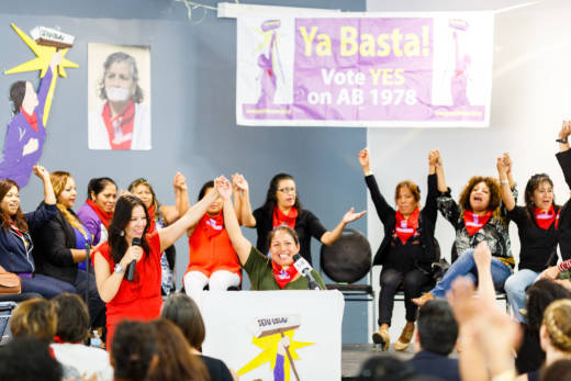"Georgina Hernandez, a janitor who was sexually assaulted on the job, leads members of the ""Ya Basta"" (enough is enough) coalition in a chant, urging the passage of AB 1978 to increase protections for janitors."