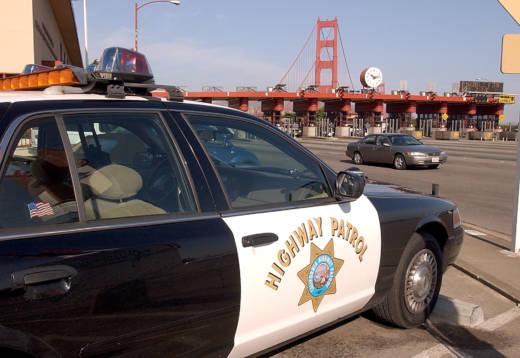 A California Highway Patrol car at the Golden Gate Bridge toll plaza November 2, 2001 in San Francisco.