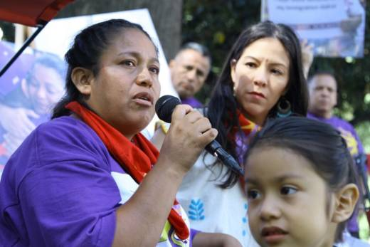 Georgina Hernandez speaks at a hunger strike staged by the janitors' union and its supporters to press Gov. Jerry Brown to sign AB 1978, which increases protection for workers, in 2016.