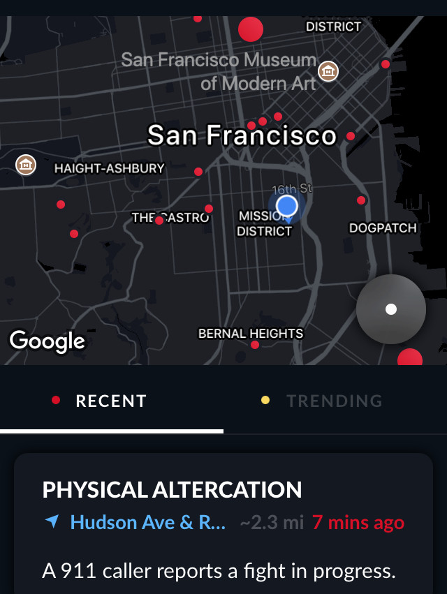 Citizen app's San Francisco crime map.
