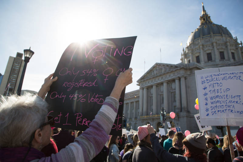 Registering women to vote and encouraging them to vote and run for office was a major theme at the 2018 Women's March in San Francisco.