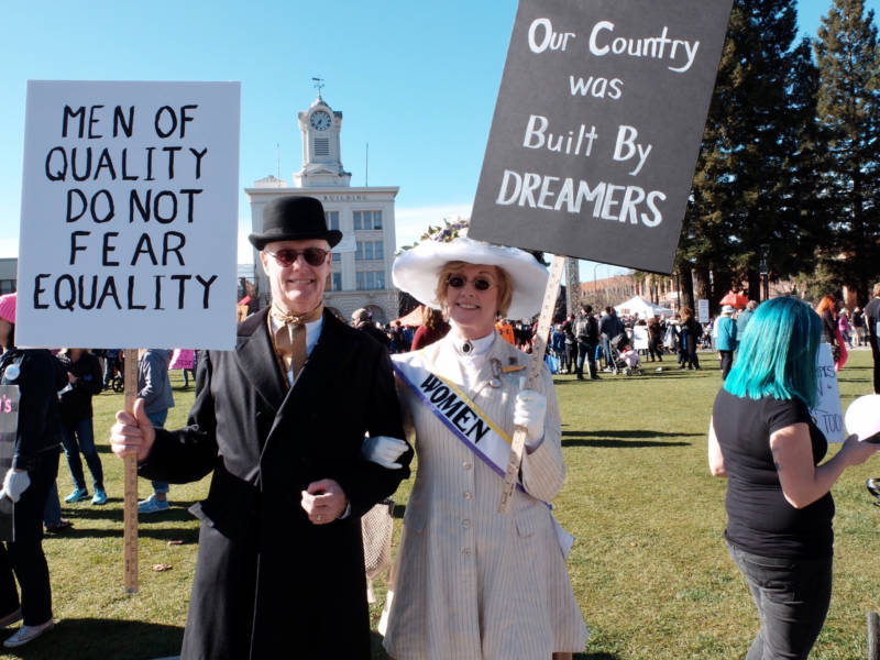 In addition to signs, many people came to Women's Marches in full costume, like this couple in Santa Rosa.